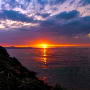 今回は先日より北に。下難波から見た山と柳原の夕日