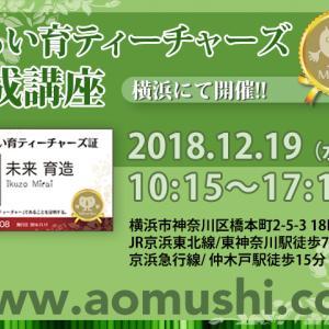 怒涛の12月はまだ続きます。19日、みらい育ティーチャー養成講座@横浜、開催です!