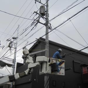 電柱の移動。階段のコンクリート