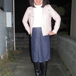 デニムのボックスプリーツスカート その3