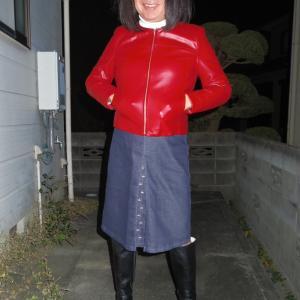 デニムのボックスプリーツスカート その5