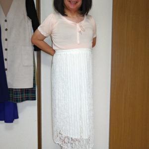 白レースプリーツマキシスカート