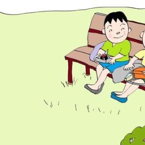 格助詞⑨ 「ベンチに すわります」「木で できています」場所「に」材料「で」起点「から」など