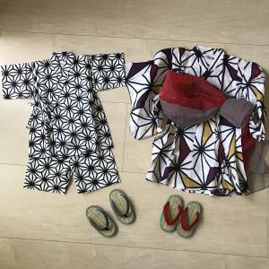 【4歳2歳】浴衣と甚平で夏祭り!草履は普段から愛用しているミサトっ子♪