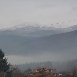 初冠雪と冬の街模様