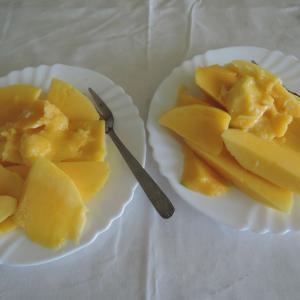 鯖の燻製で七夕の夕食とマンゴーの朝食