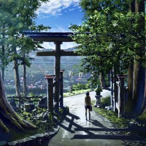 夏の終わりのイラスト 少女と神社