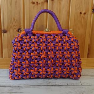 エコクラフト 4本花結び編みがま口バック