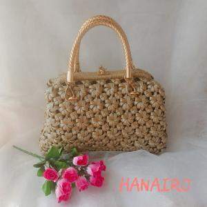 エコクラフト 4本花結び編みがま口手提げバッグ