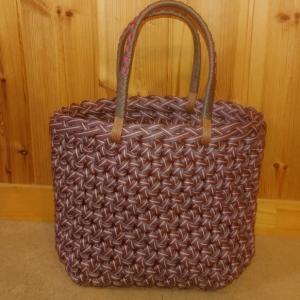エコクラフト 花結び編みかごバッグ