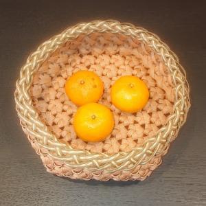 エコクラフト 花結び編みのみかんカゴ