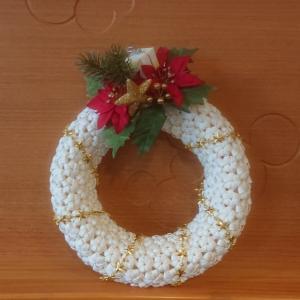 エコクラフト 花結び編みリース