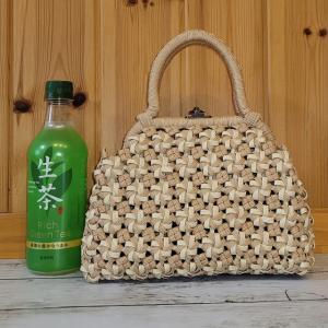 エコクラフト 4本花結び編みがま口バッグ ミニサイズ