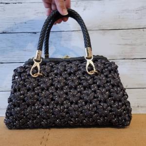 エコクラフト 4本花結び編み手提げがま口バッグ