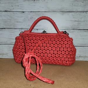 エコクラフト 花結び編みバッグ