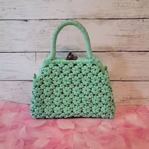 エコクラフト 4本花結び編みがま口バッグ(ミニサイズ)