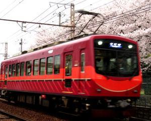 満開の桜を往く叡電デオ722と京都の桜