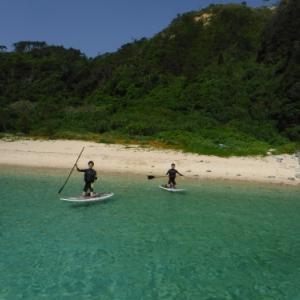 【オクマナビ】初めてのサップ体験♂️♂️天気も良く✨海も綺麗でサップ日和の1日でした