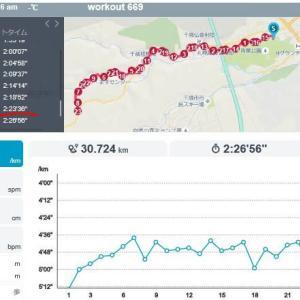 ランニング(20190811) 道マラ前最後の30キロ