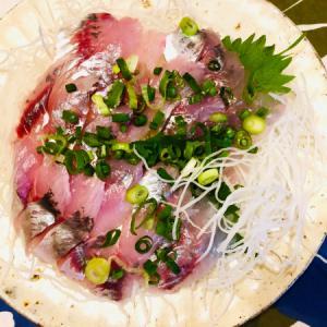 鯵の刺身と蛸とワカメの酢味噌和え!