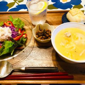 休肝日の大豆と煮干しの煮物とツナと野菜のサラダ!