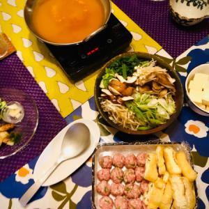 生姜たっぷり豚団子のピリ辛味噌鍋と竹輪の明太バター!