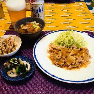 あんかけ生姜焼きと豚汁!