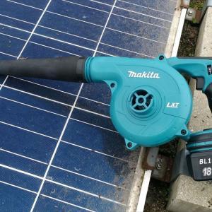太陽光発電所の清掃にマキタのブロアーがお勧め!