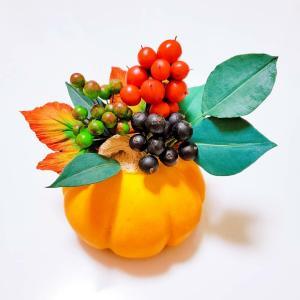 秋のアレンジ かぼちゃもクレイ