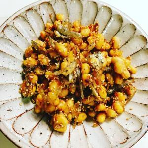 かりポリ大豆とジャコの甘辛煮