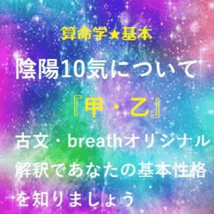 算命学★基本★陰陽10気について~甲・乙