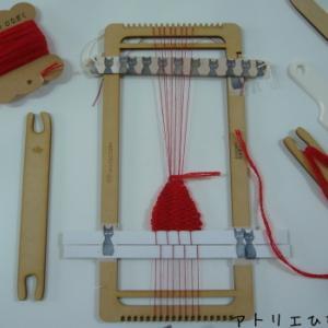 ミニ織り機でハートブローチ