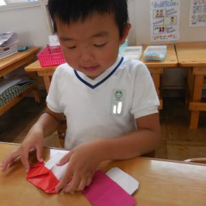 折り紙できのこちゃん 4歳児 きく組