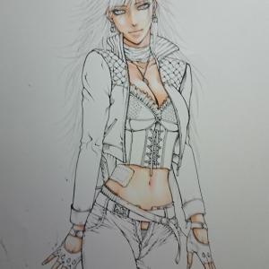 着色経過~女性と壁とジーンズ