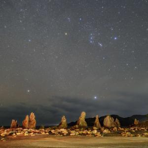 橋杭岩と冬の大三角