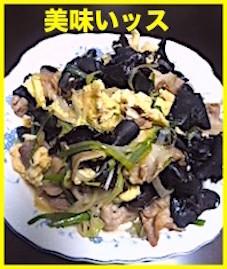 キクラゲと玉子と豚バラ肉と長ネギと生姜の炒め物、大好物です!!