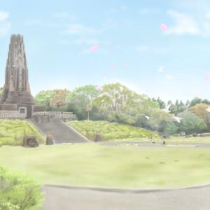 平和の塔の絵を描きました(宮崎県宮崎市)  2019年春の絵