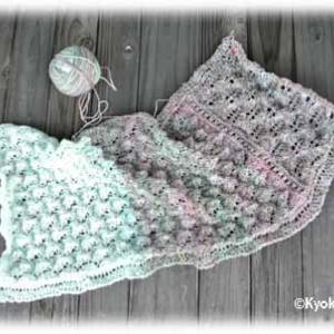 染めた糸で模様編み