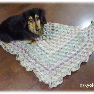 シルクガーデンソックのストール編み終わり♪