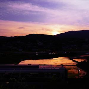 生駒山の夕日