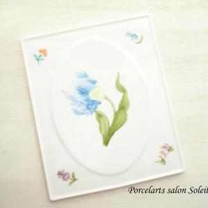 【my work】ブルーのヘレンド風チューリップ♡ポーセラーツ絵具で描くヨーロピアンチャイナ作品