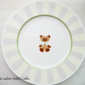 【my work】転写紙コースLesson 5 スカラップリムとクマ♡ポーセラーツカリキュラム