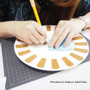 【レッスン風景】ちぎり絵完成と持ち手つなぎの練習♡ポーセラーツ転写紙コース
