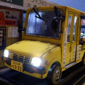 ミラウォークスルーバン&ホンダDJ 1/32 峠のドライブイン 移動販売たこ焼き屋 情景ジオラマ完成品