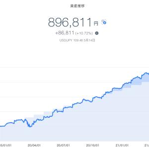 【爆益!!】2021年5月3週目!THEO+docomoの資産運用状況は896,811円でした