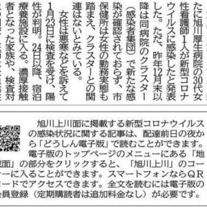 「旭川1人感染」の記事