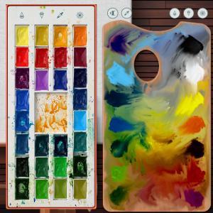 Realistic Paint Studio-水彩パレットと油彩パレット。色の混ぜ方、使い方