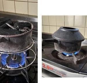 炭の火おこし