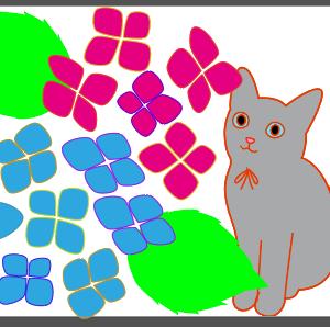 猫と紫陽花の刺繍