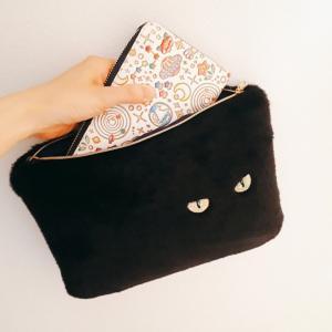 長財布も入る★リアル黒猫ショルダー
